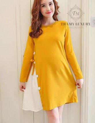 Đầm bầu công sở kiểu mới màu vàng lung linh