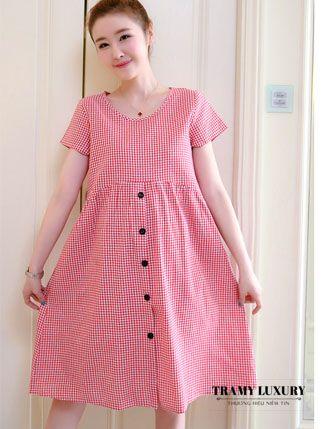 Đầm bầu kẻ caro sành điệu giá 200k