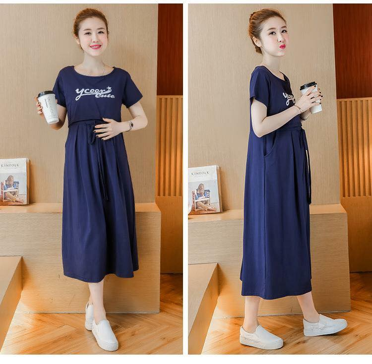 Đầm cho bé bú cotton TM302 xanh tím