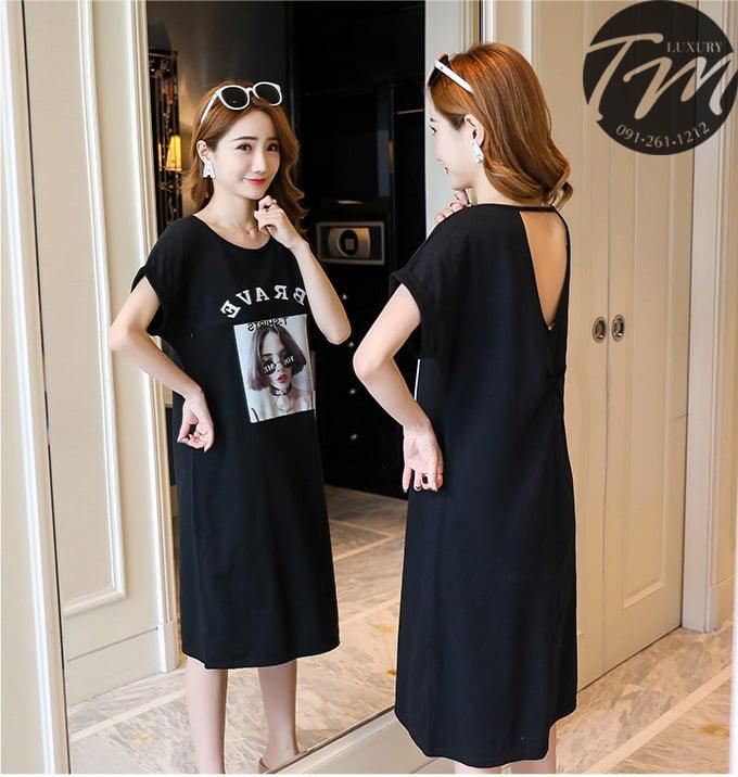 Đầm bầu dáng dài Hàn Quốc đen